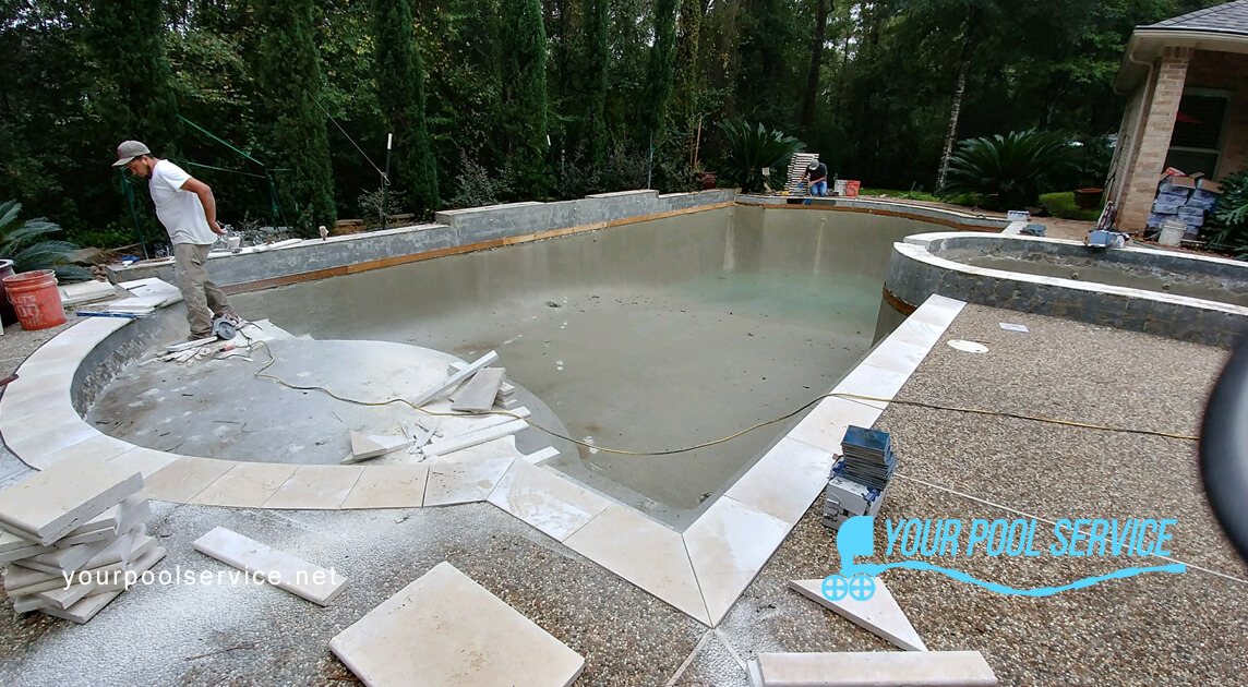during construction swimming pool renovation project
