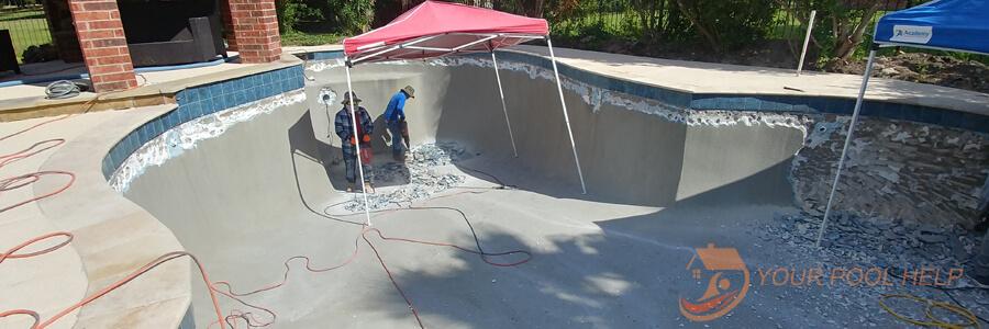 swimming pool remodel prep job