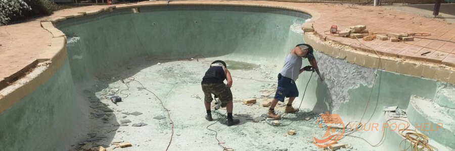 swimming pool remodeling prep work