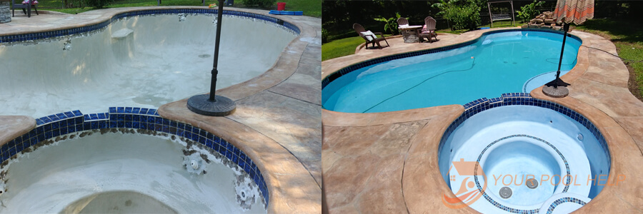 swimming pool renovation resurfacing before and after