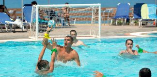 swimming pool volleyball sports games