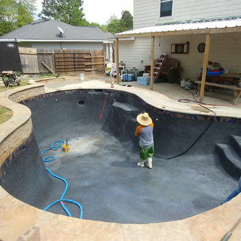 types of inground swimming pools gunite concrete